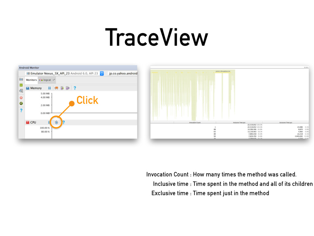 TraceView Click Invocation Count : How many tim...