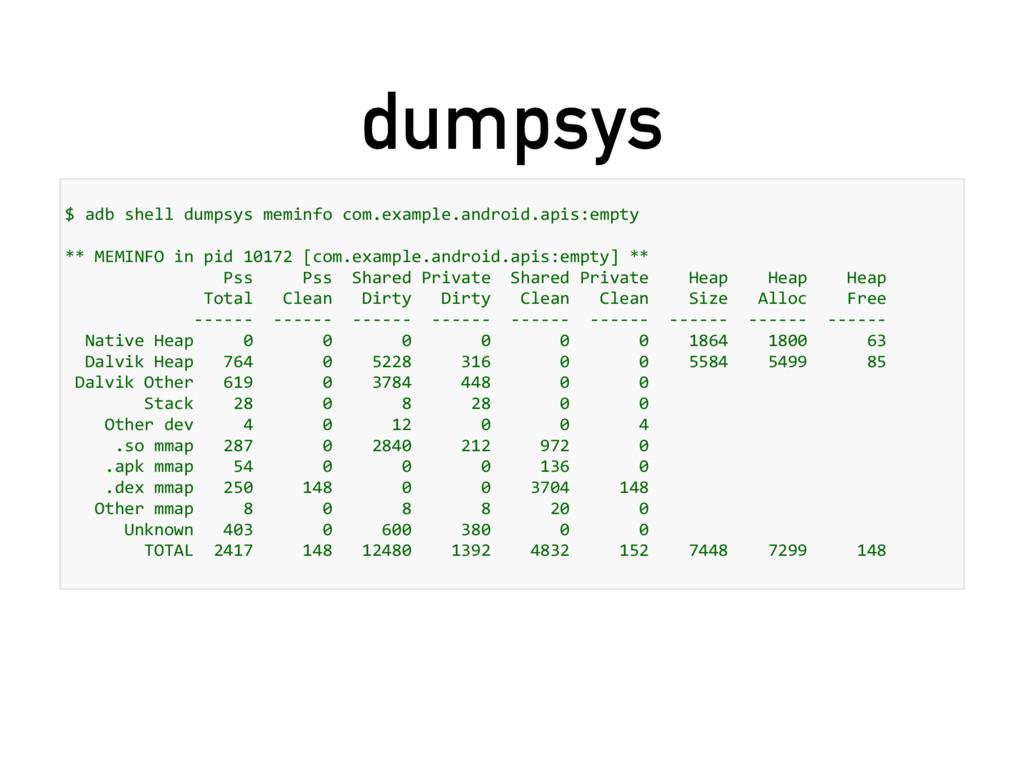 dumpsys $ adb shell dumpsys meminfo com.example...