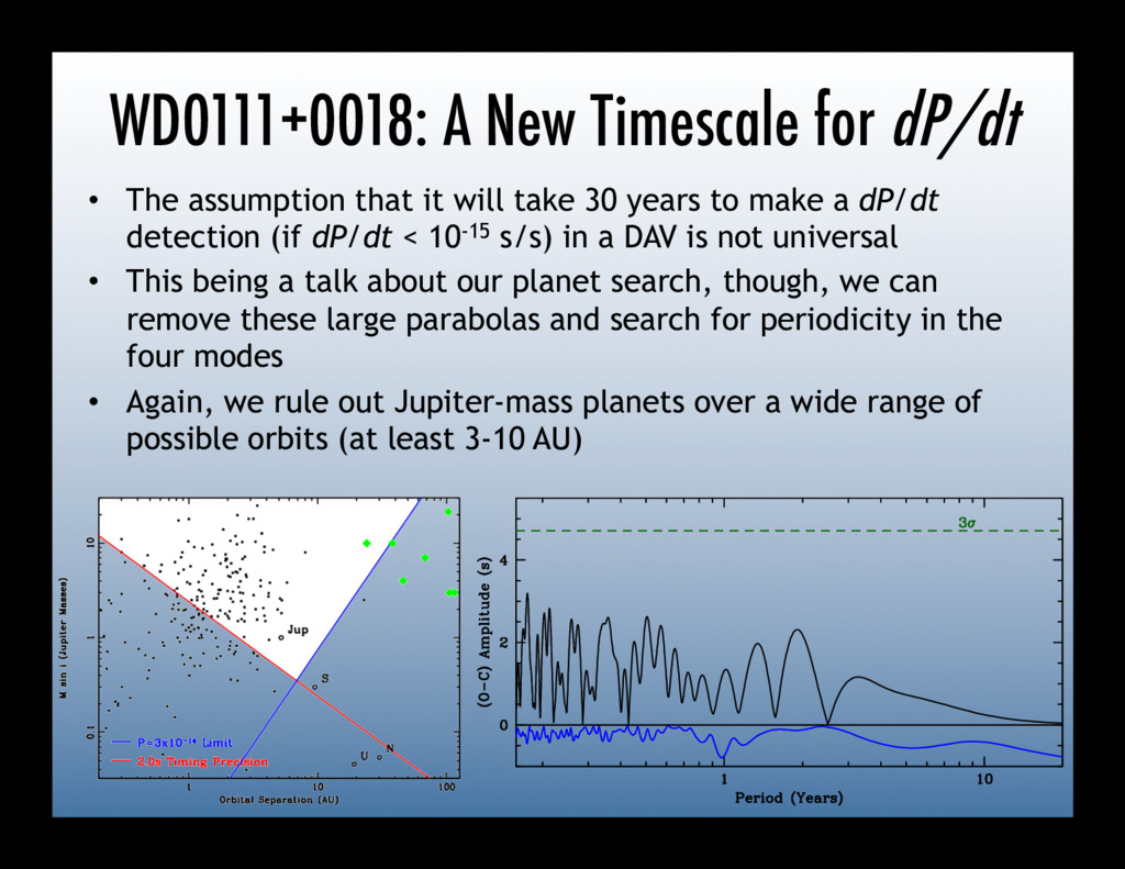WD0111+0018: A New Timescale for dP/dt • The a...
