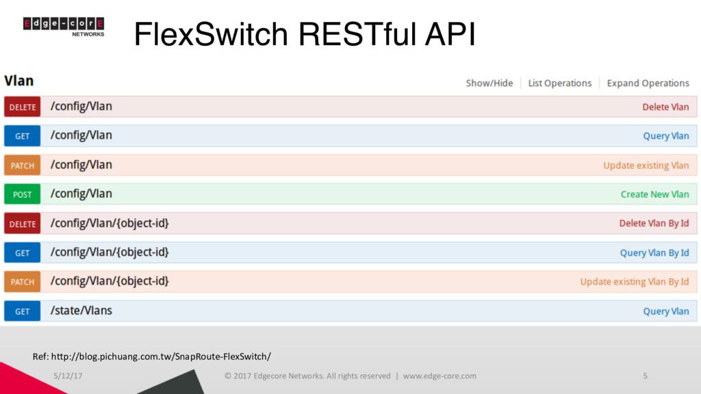 FlexSwitch RESTful API 5/12/17 © 2017 Edgecore ...
