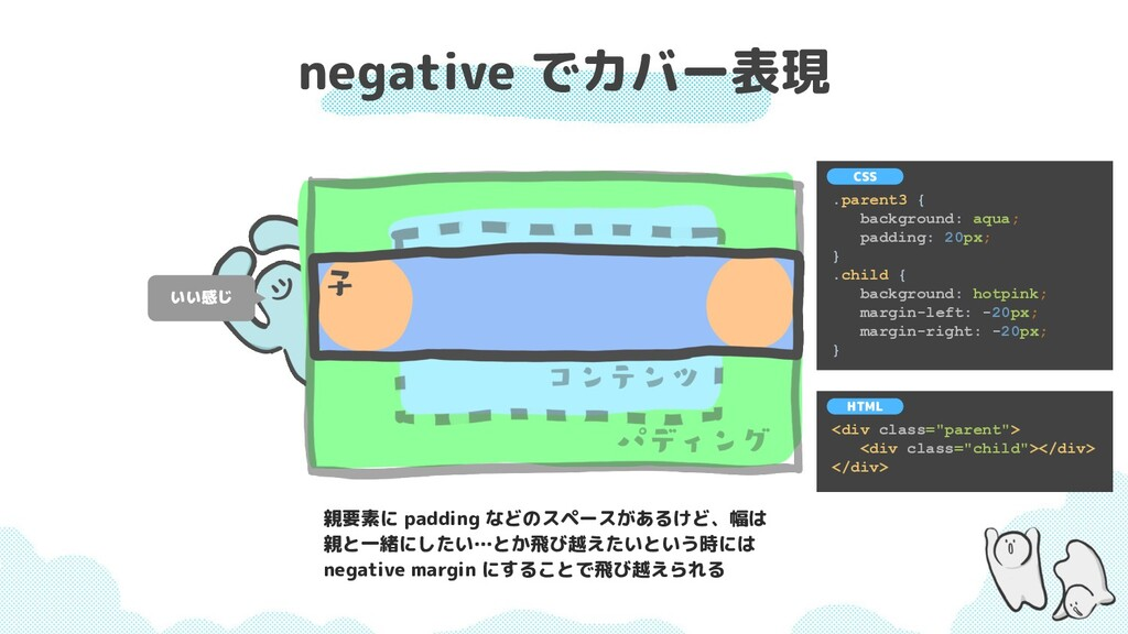 negative でカバー表現 いい感じ .parent3 { background: aqu...