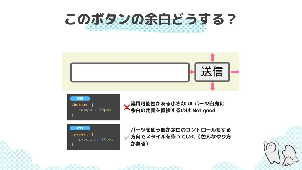このボタンの余白どうする? .button { margin: 10px; } CSS 流用可...