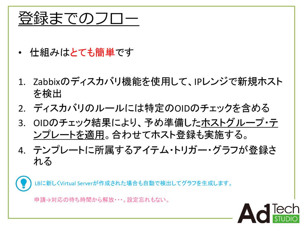 登録までのフロー • 仕組みはとても簡単です 1. Zabbixのディスカバリ機能を使用して、...