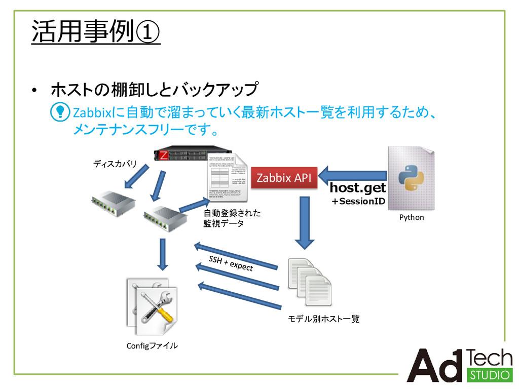活用事例① • ホストの棚卸しとバックアップ Zabbixに自動で溜まっていく最新ホスト一覧を...
