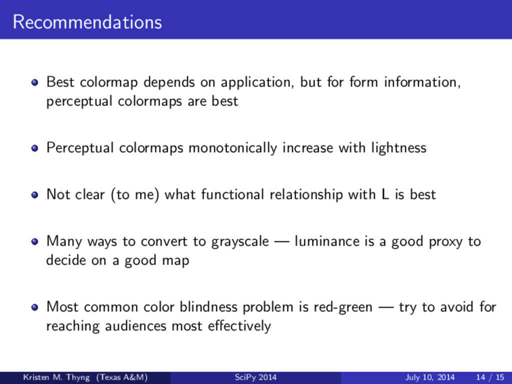 Recommendations Best colormap depends on applic...