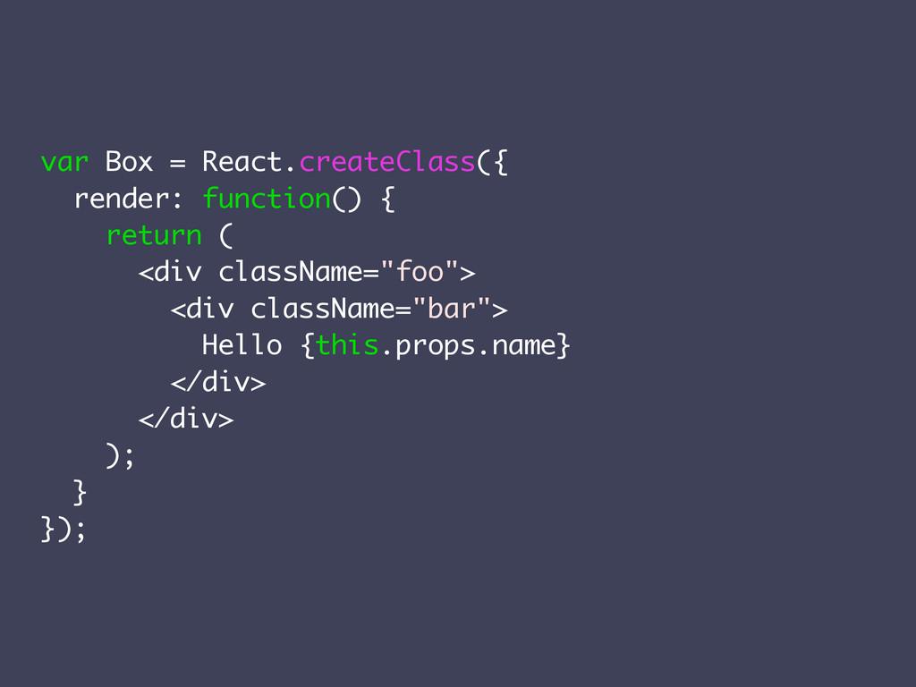 var Box = React.createClass({ render: function(...