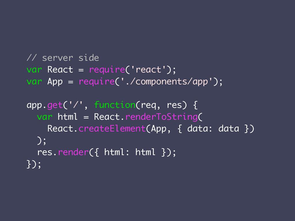 // server side var React = require('react'); va...