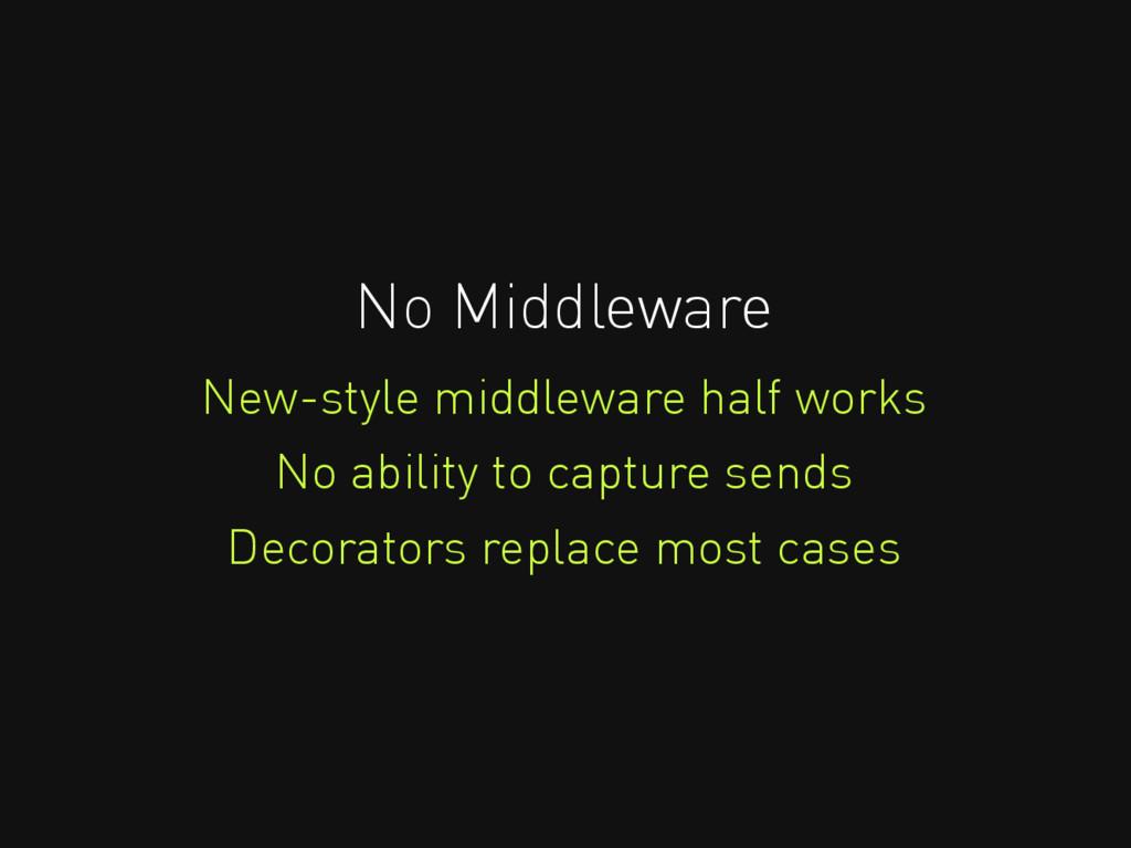 No Middleware New-style middleware half works N...