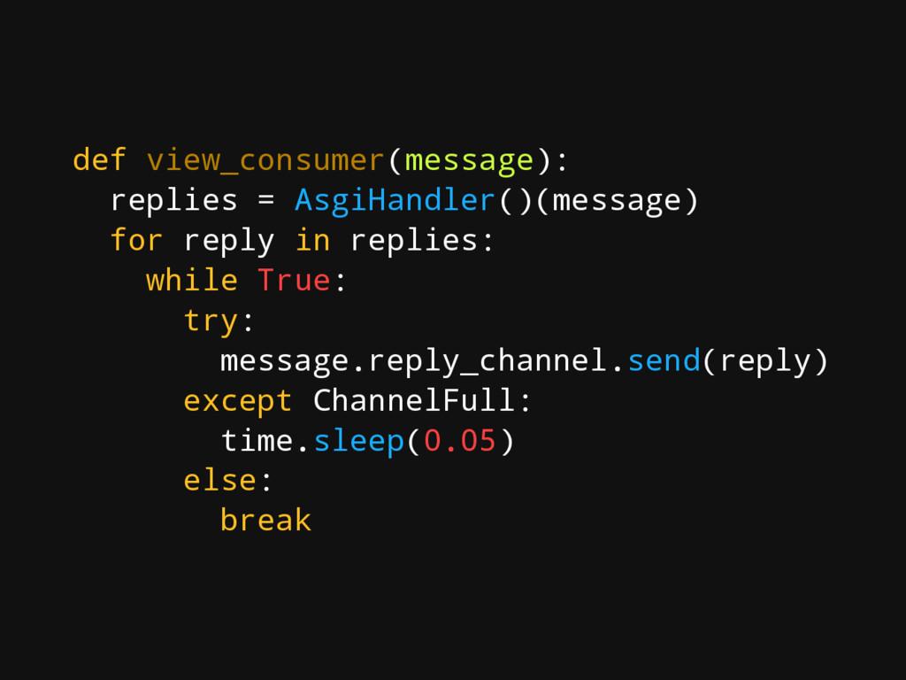 def view_consumer(message): replies = AsgiHandl...