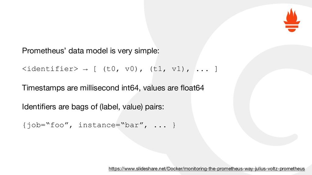 Prometheus' data model is very simple:  <identi...