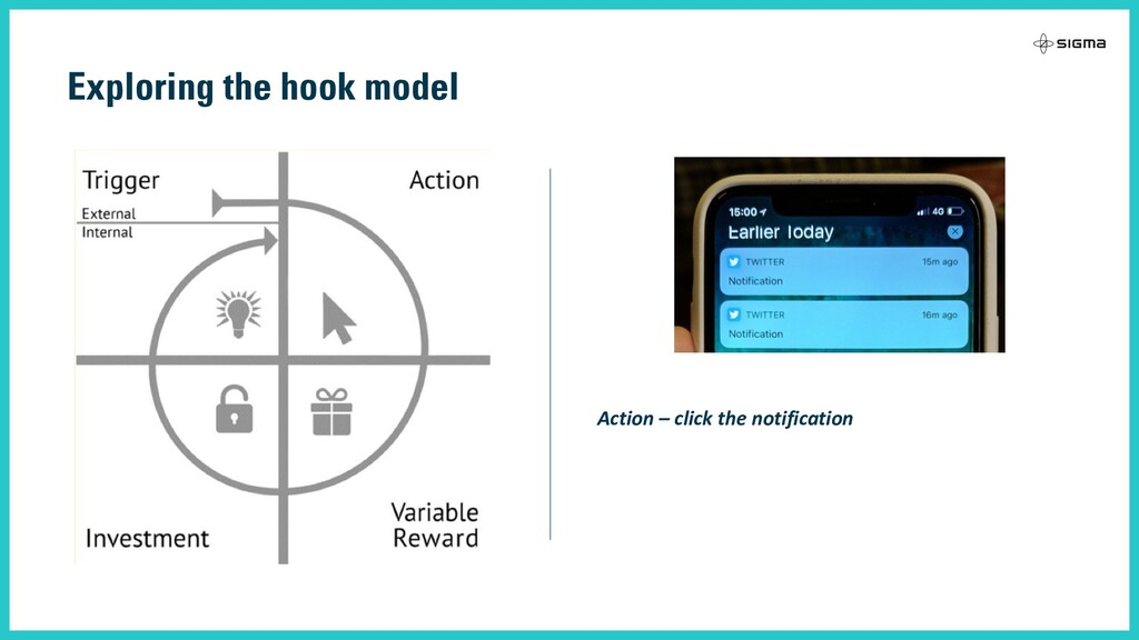 Exploring the hook model Action – click the not...