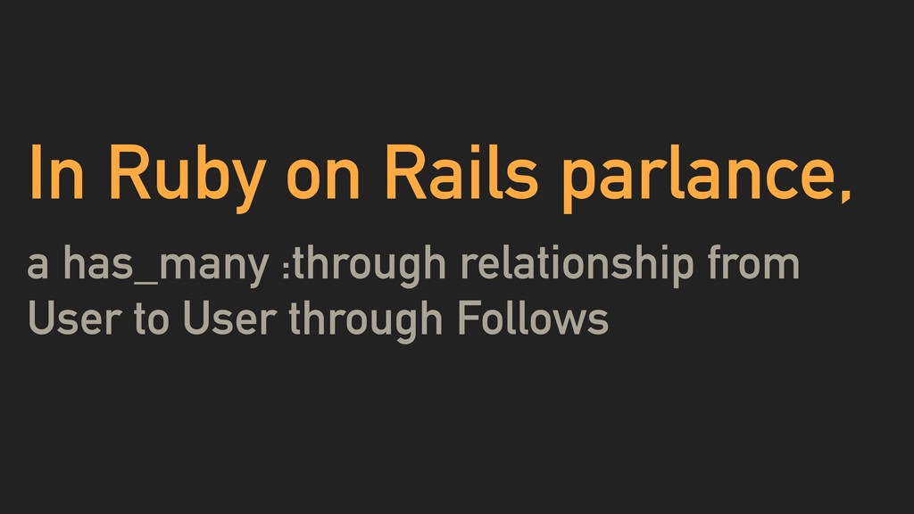 In Ruby on Rails parlance, a has_many :through ...