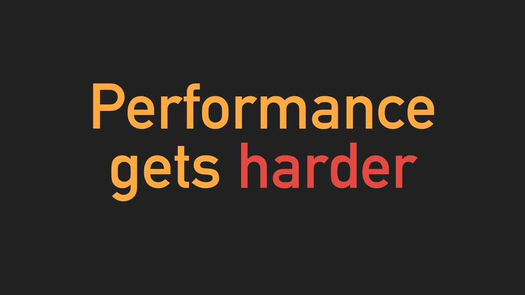 Performance gets harder