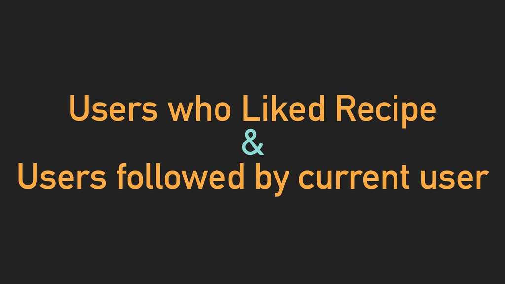 Users who Liked Recipe & Users followed by curr...