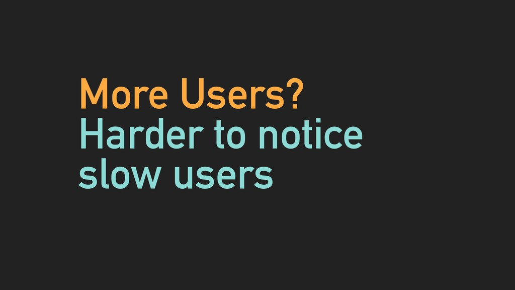 More Users? Harder to notice slow users