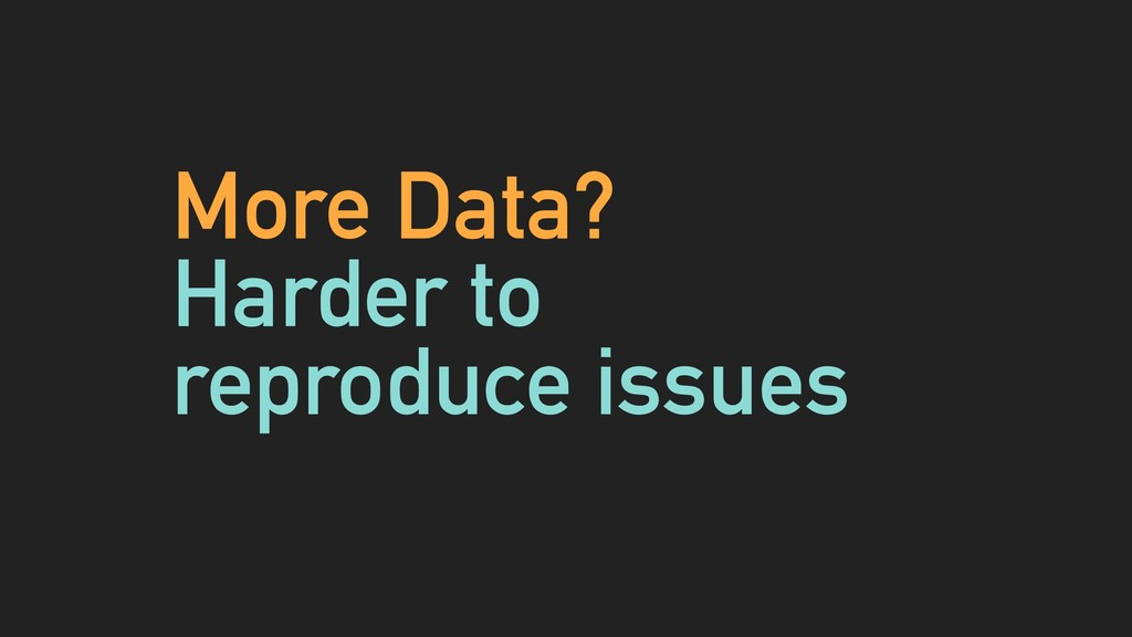 More Data? Harder to reproduce issues