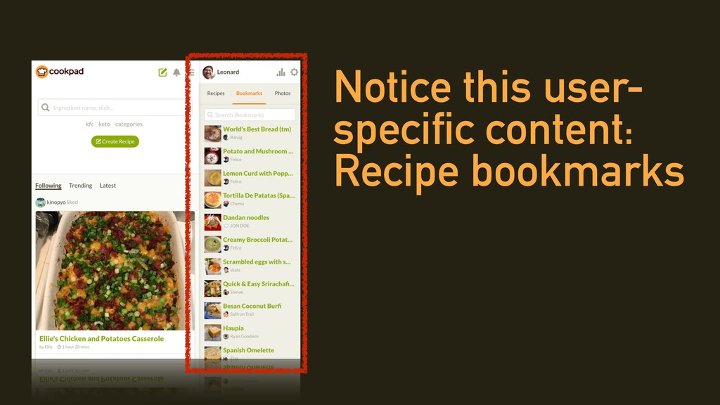 Notice this user- specific content: Recipe book...