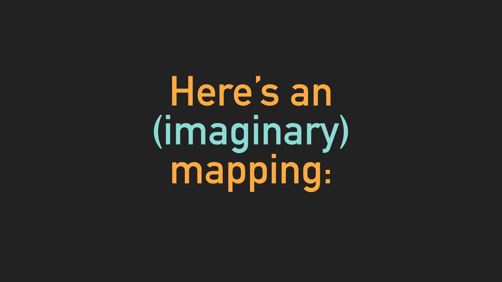 Here's an (imaginary) mapping: