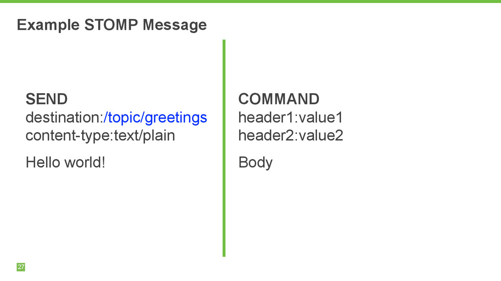 Example STOMP Message 27 