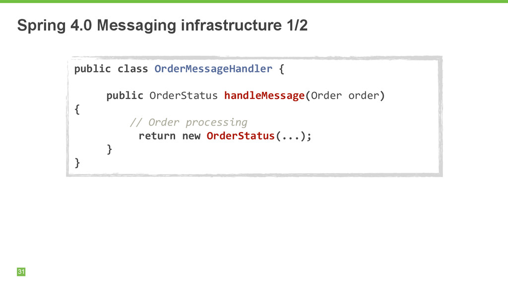 Spring 4.0 Messaging infrastructure 1/2 31 publ...