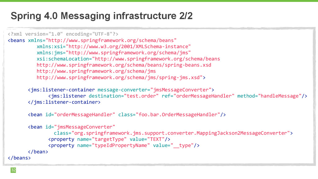 Spring 4.0 Messaging infrastructure 2/2 32 <?xm...