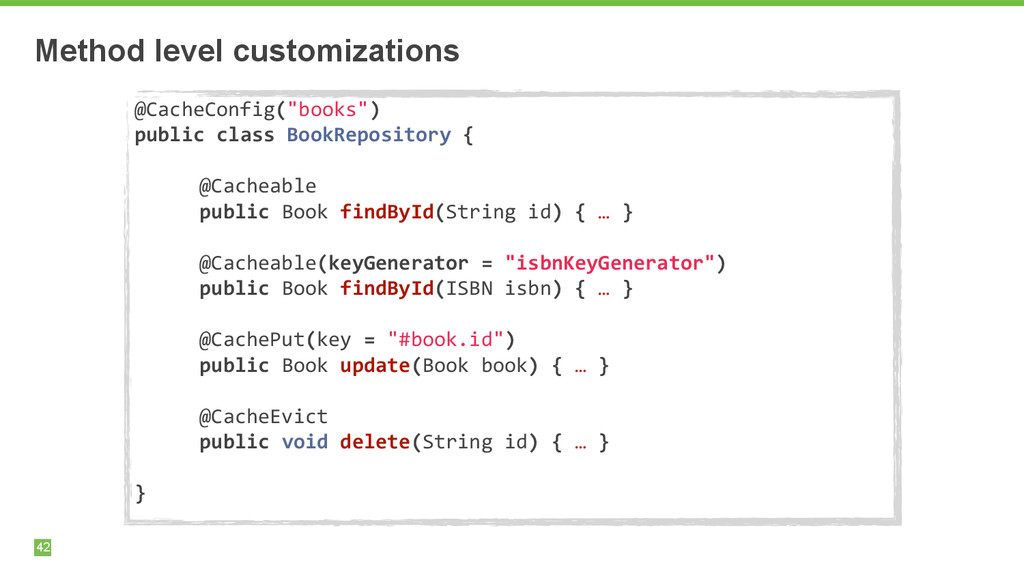"Method level customizations 42 @CacheConfig(""bo..."
