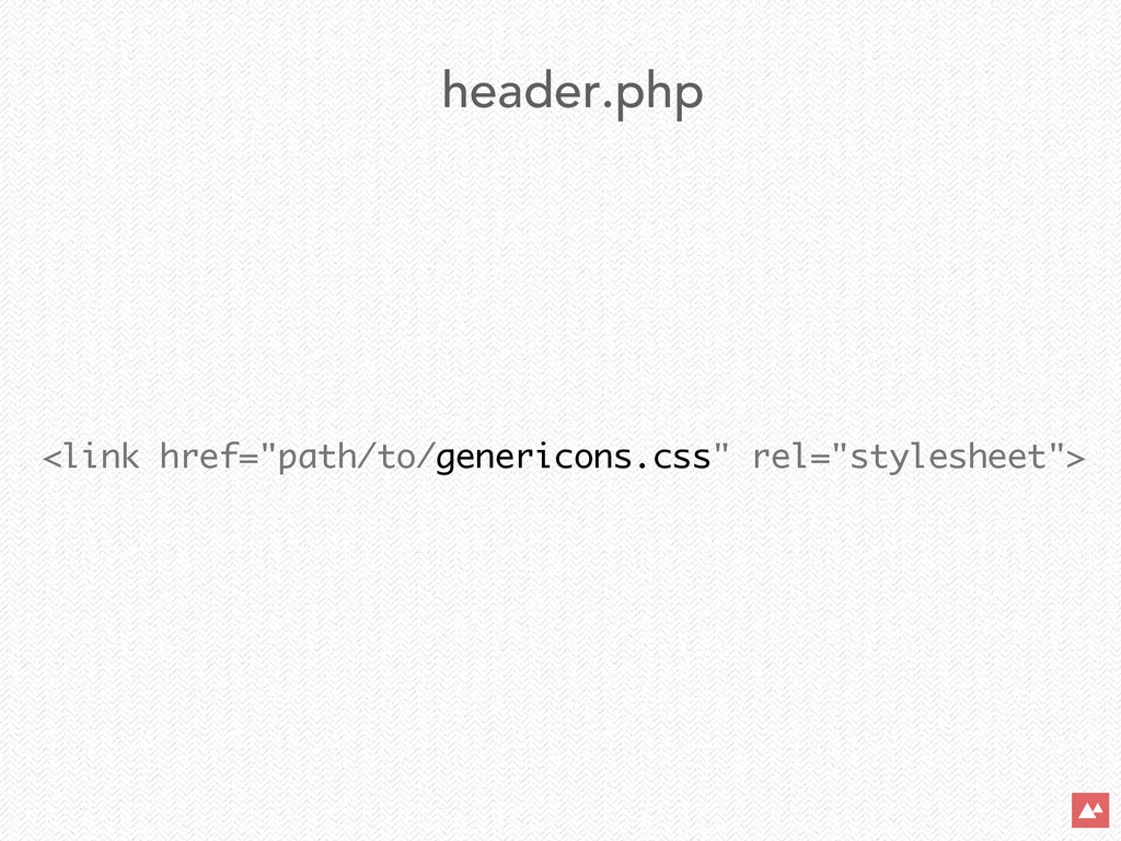 """<link href=""""path/to/genericons.css"""" rel=""""styles..."""