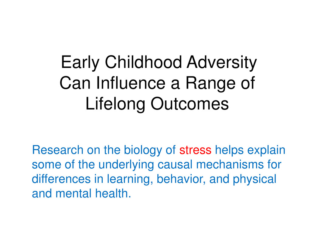 Early Childhood Adversity Can Influence a Range...