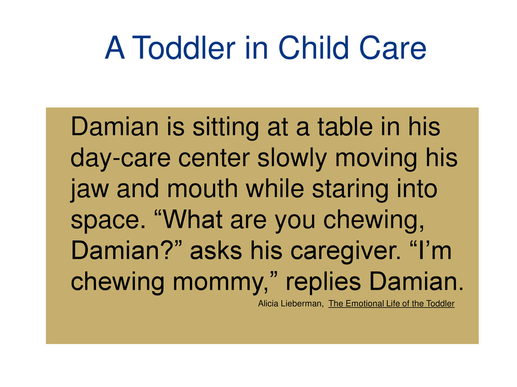 A Toddler in Child Care Damian is sitting at a ...