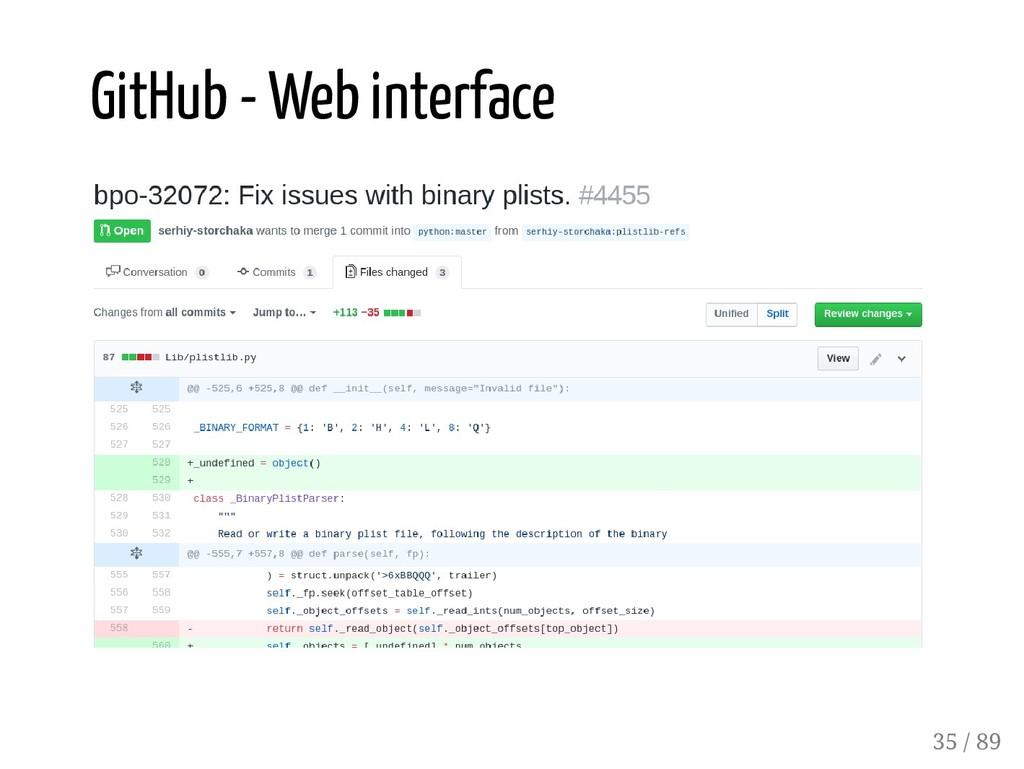 GitHub - Web interface 35 / 89
