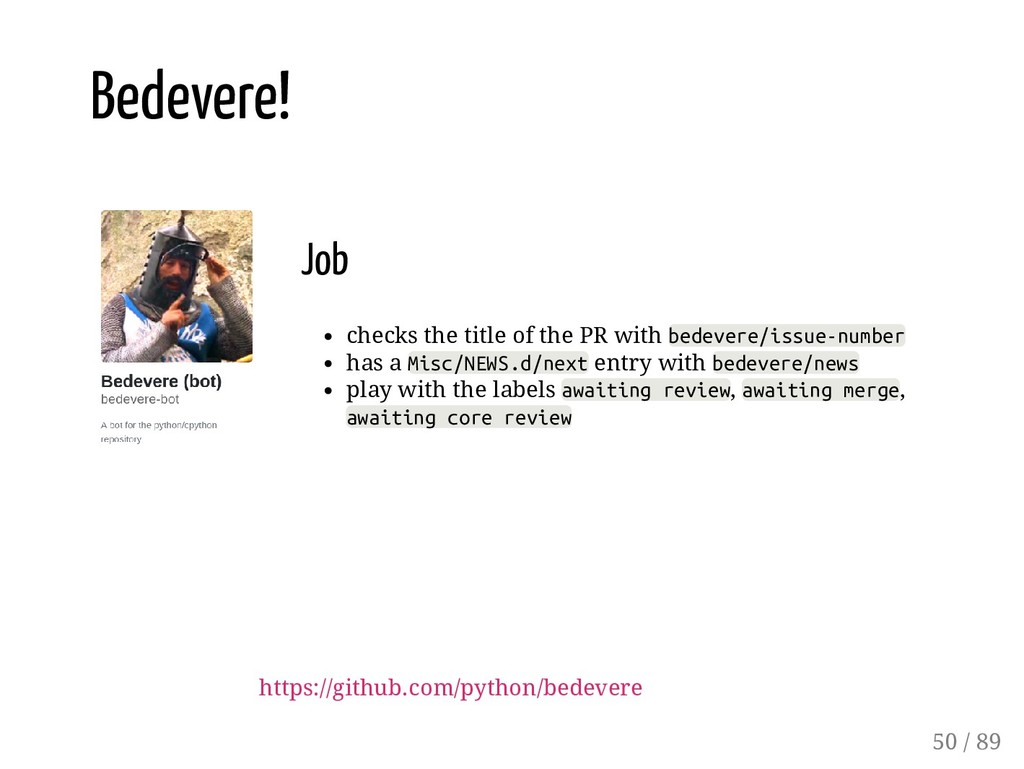 Job checks the title of the PR with bedevere/is...
