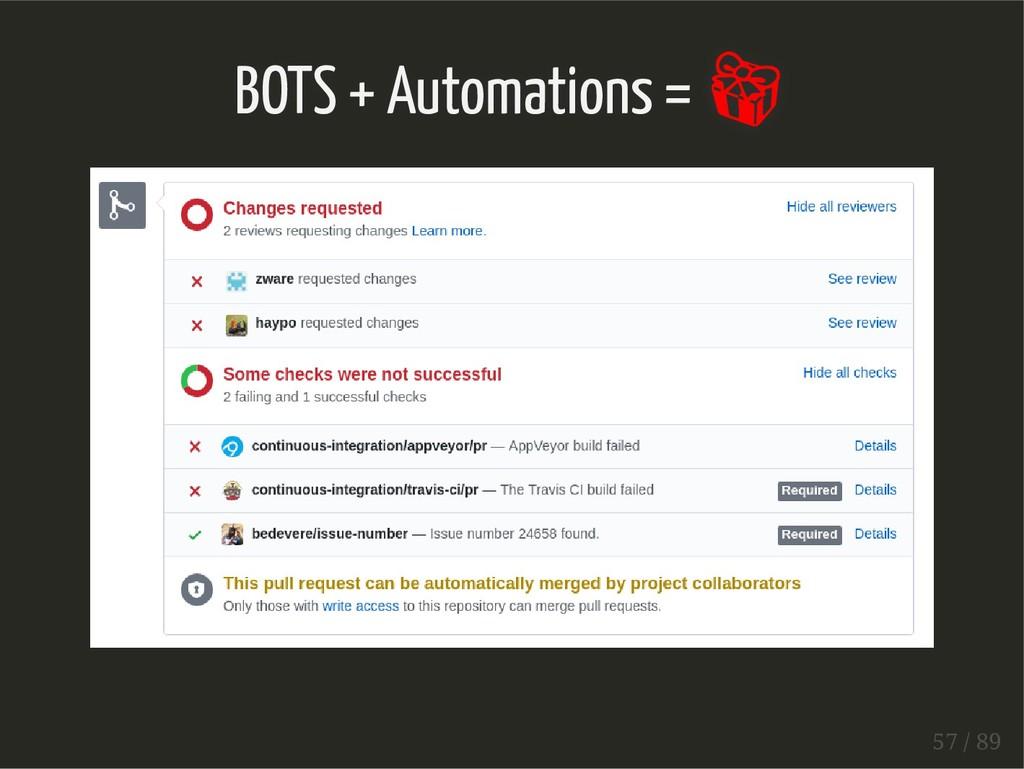 BOTS + Automations =  57 / 89