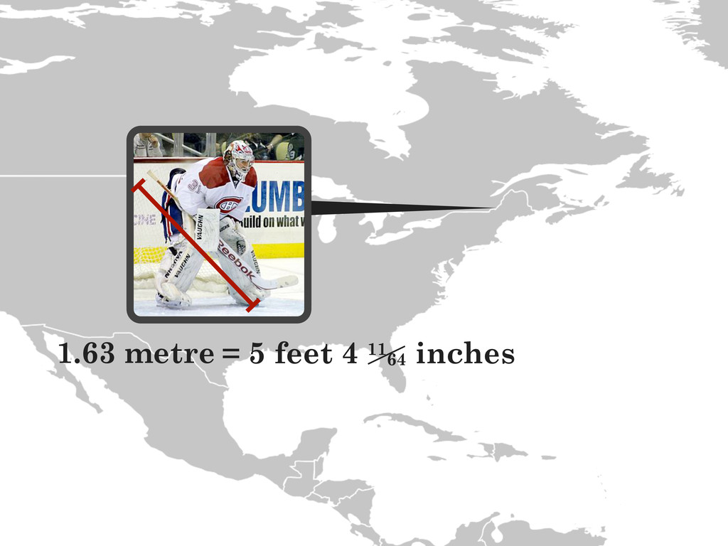 1.63 metre = 5 feet 4 11 64 inches