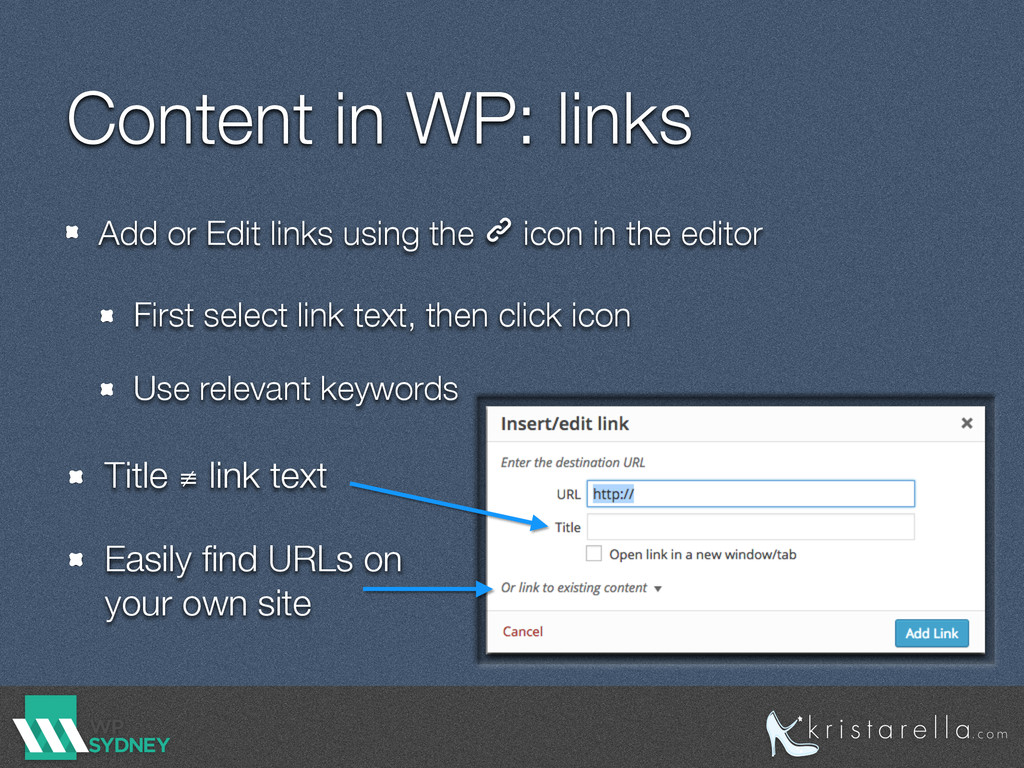 Content in WP: links Add or Edit links using th...