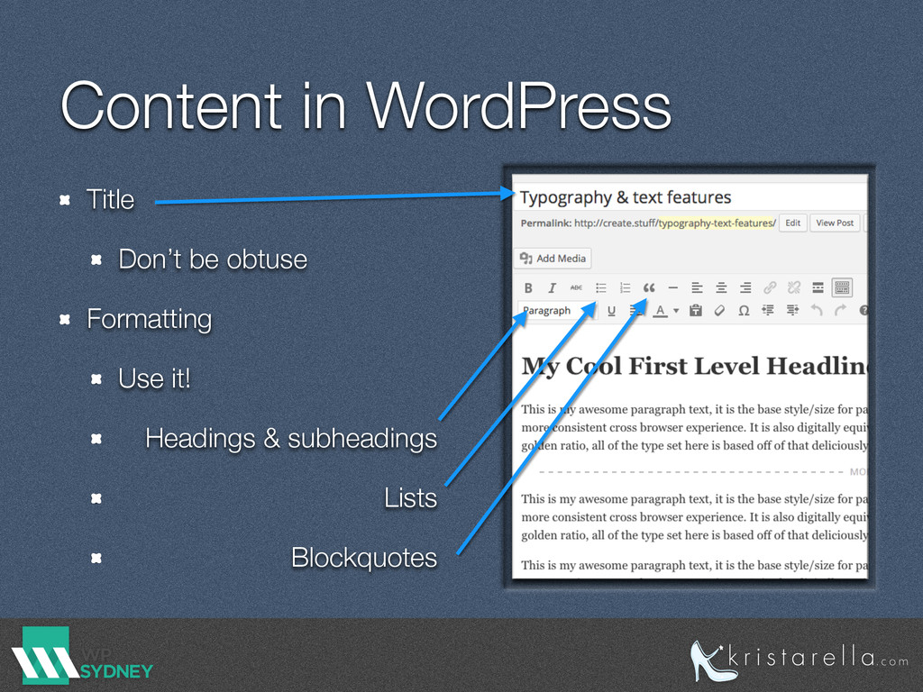 Content in WordPress Title Don't be obtuse Form...
