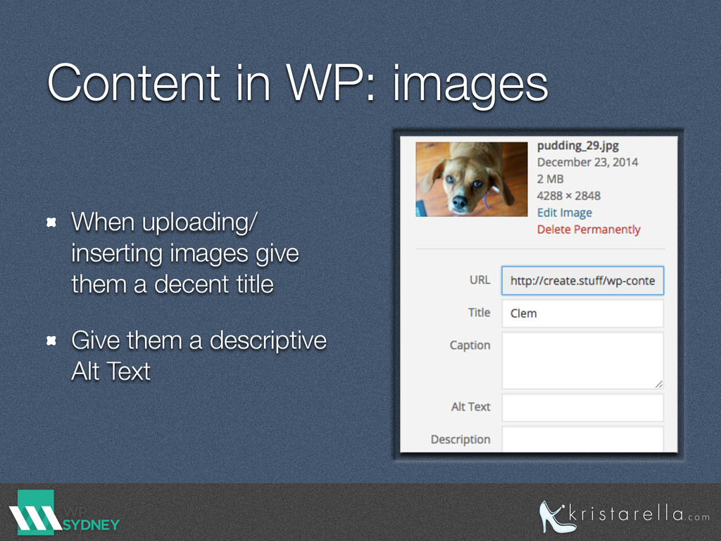 Content in WP: images When uploading/ inserting...