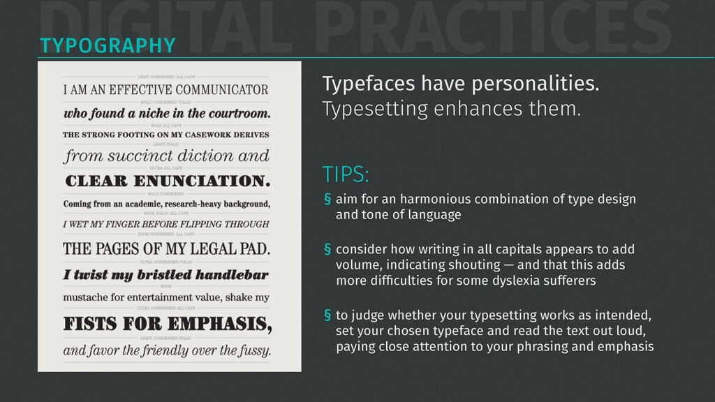 DIGITAL PRACTICES TYPOGRAPHY § aim for an harmo...