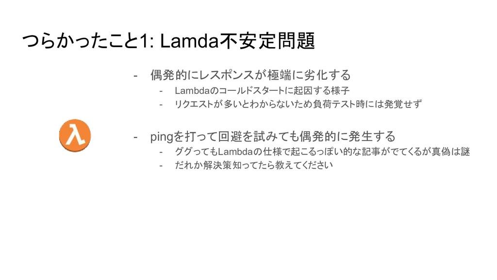 つらかったこと1: Lamda不安定問題 - 偶発的にレスポンスが極端に劣化する - Lamb...