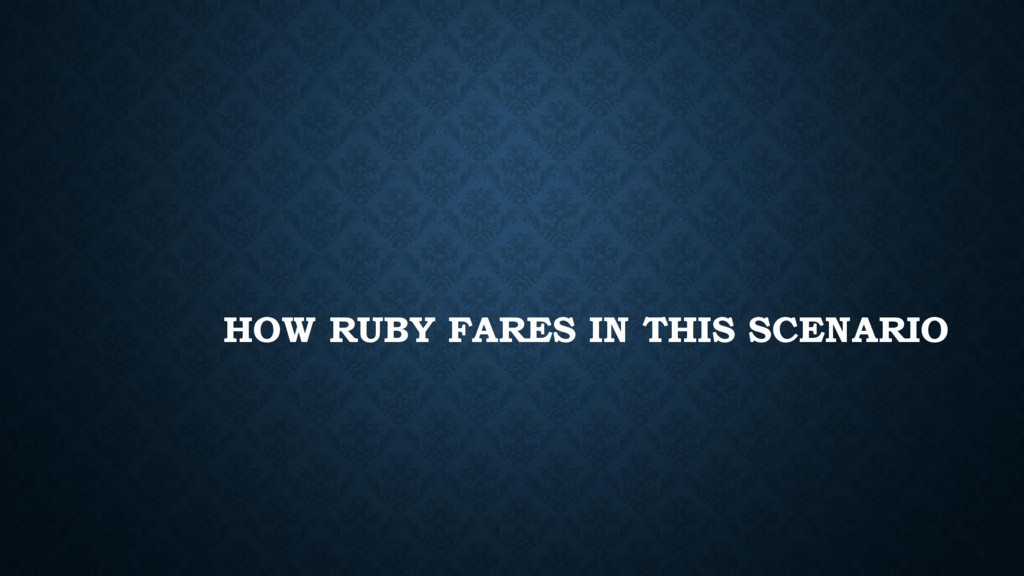 HOW RUBY FARES IN THIS SCENARIO