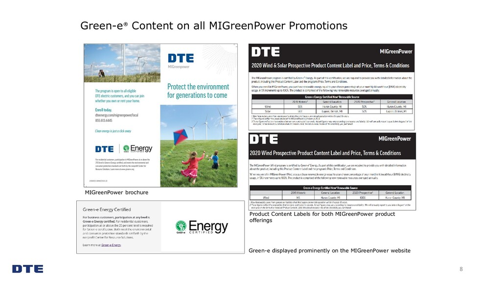 Green-e® Content on all MIGreenPower Promotions...