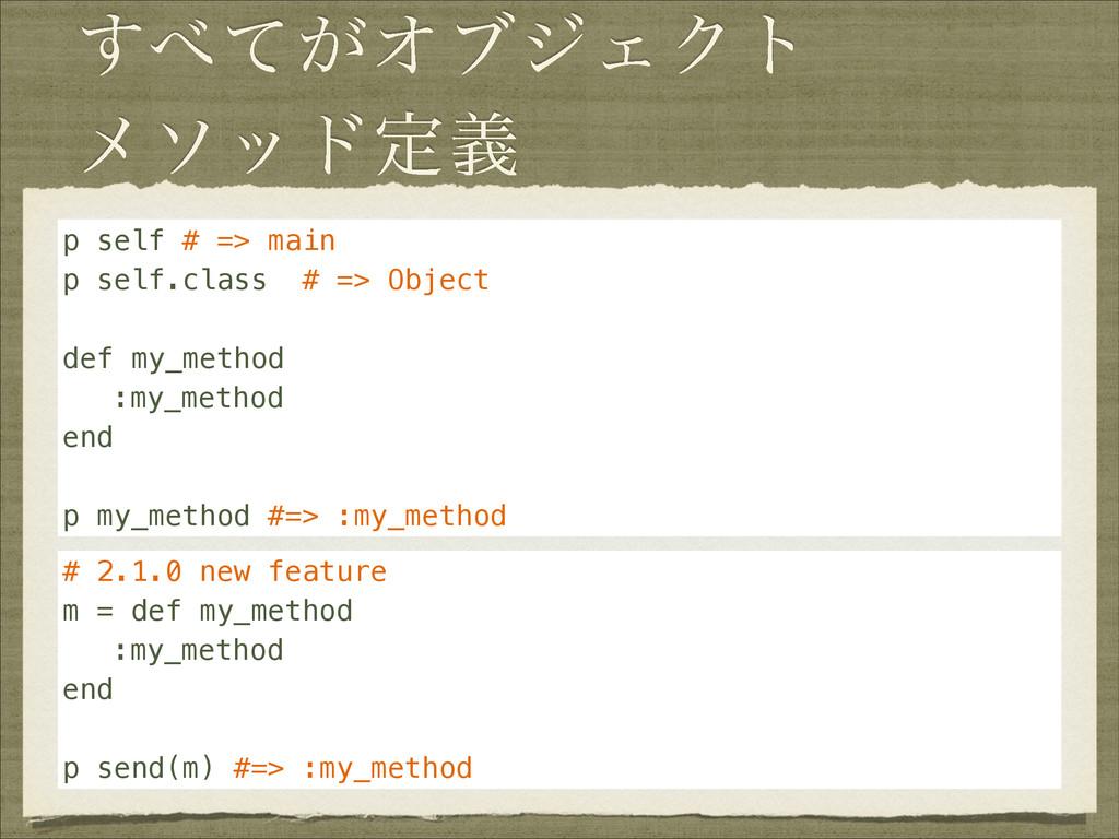 ͕ͯ͢ΦϒδΣΫτ ϝιουఆٛ p self # => main p self.class...