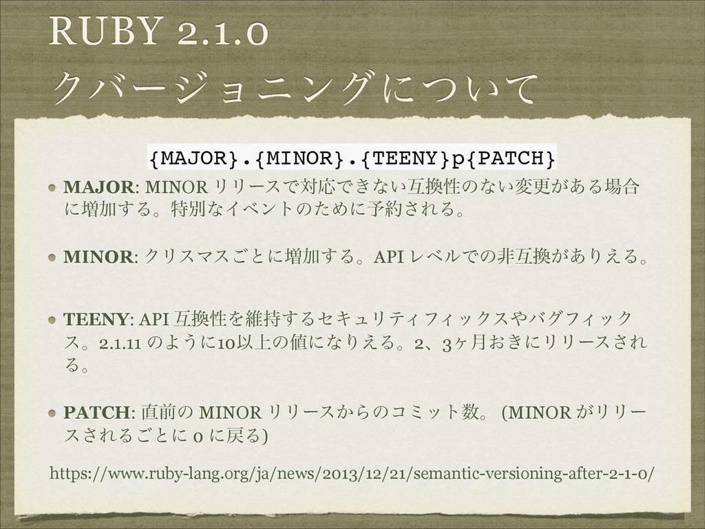RUBY 2.1.0 Ϋόʔδϣχϯάʹ͍ͭͯ MAJOR: MINOR ϦϦʔεͰରԠͰ͖ͳ...