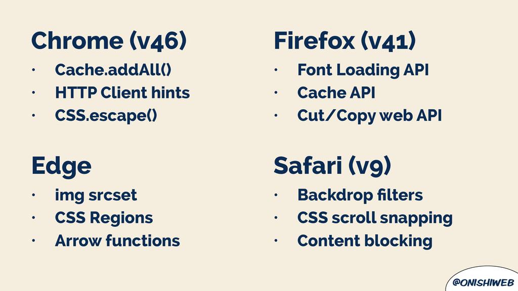 @onishiweb Chrome (v46) • Cache.addAll() • HTTP...