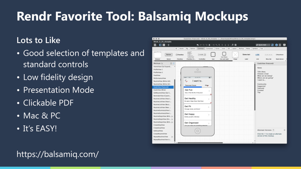 Rendr Favorite Tool: Balsamiq Mockups Lots to L...