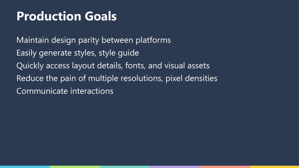 Production Goals Maintain design parity between...