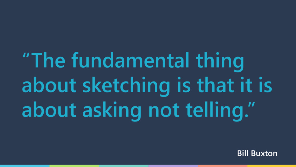 """""""The fundamental thing about sketching is that ..."""