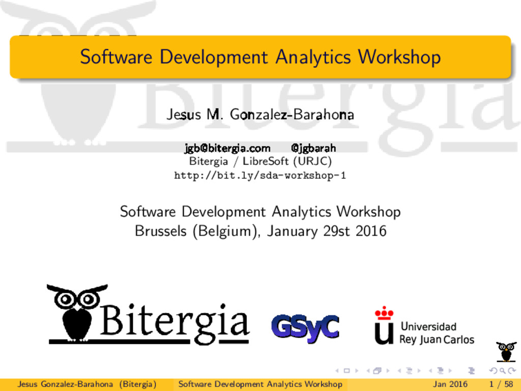 Software Development Analytics Workshop Jesus M...