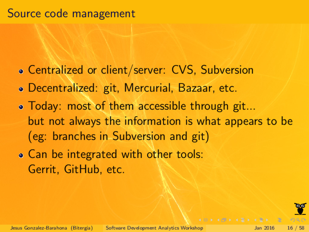 Source code management Centralized or client/se...