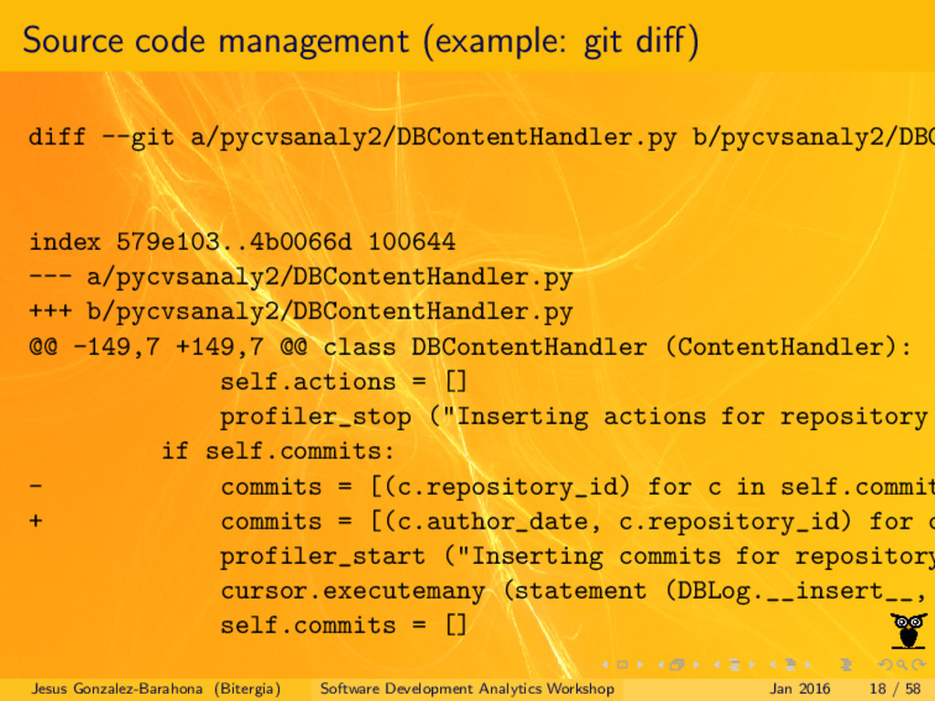 Source code management (example: git diff) diff ...