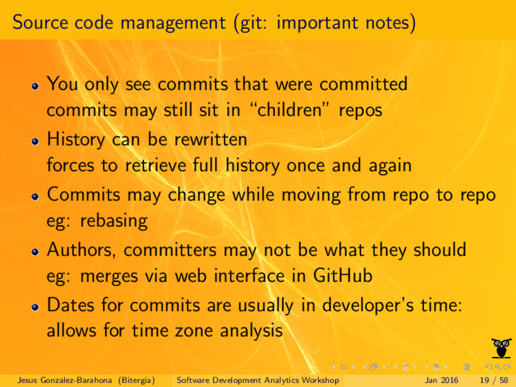 Source code management (git: important notes) Y...